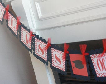 """Red & Navy Blue Chevron - """"Class of 2016"""" High School or College Graduation Cap Gown Banner - Or Pick Colors"""