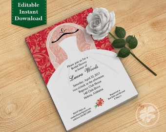 Red Bridal Shower Invitation Template, Wedding Shower Invitations - Dress on Hanger Red