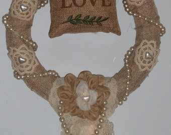 Burlap Wreath, Fabric Flower, Pearls, Crochet Dolies, 10 inch Wreath, Farmhouse, Shabby Chic, Rustic, Lace and Burlap
