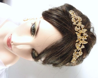 Bridal Tiara Hair Comb - Yellow Gold Plated Pearl Rhinestone Crystal Flower Wedding Hair Accessories Wedding Tiarra Hair Comb Jewelry