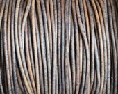 10 Yards Grey Distressed 2mm Leather Cord Round Natural Dye