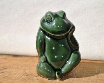 Ceramic Frog Figure From Brazil - Vintage Green Frog - Whimsical Frog - Figural Frog - Spring Frog - Humorous Frog - Amphibian Lover