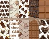 Chocolate Digital Paper, Halloween Chocolate Digital Paper, Chocolate Bar Digital Paper, Candy Digital Paper, Hot Chocolate Bar, #15103B