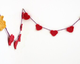 CLEARANCE - Discontinued Item - Half Original Price - Crochet Heart Garland - Pink and Yellow Crochet Bunting, Photo Prop, Party Decor