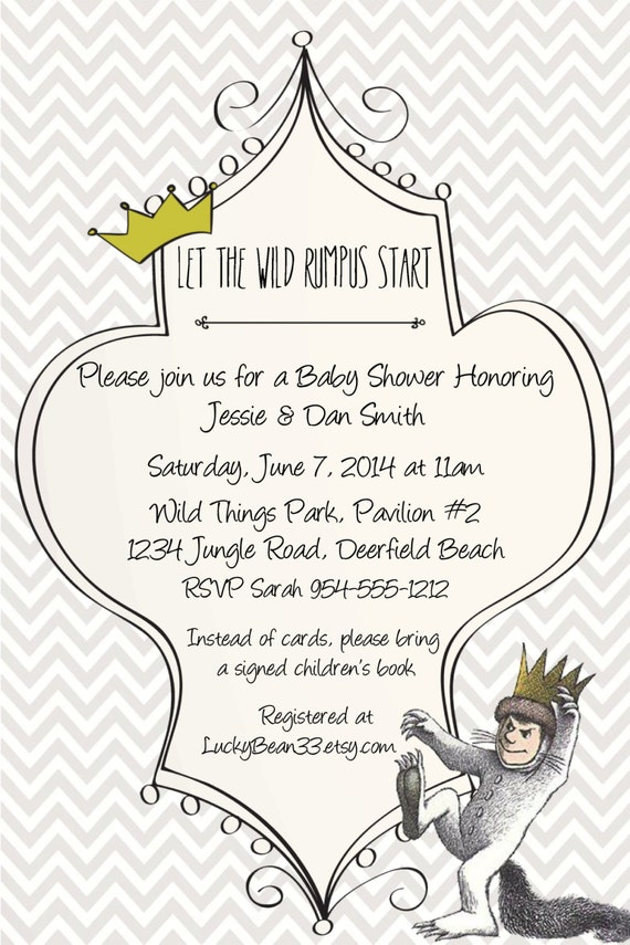 where the wild things are baby shower invitation template