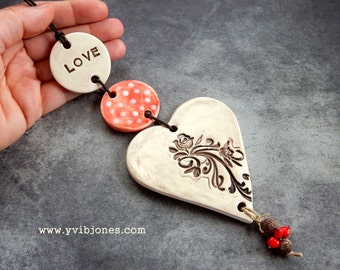50% SALE LOVE Heart Wall Hanging Mobile Vintage Inspired Ornamental Ceramic Art Decor Rustic Wedding Home Decor Eco Friendly Organic Gift
