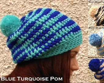 Adult Hat with Pompom Blue Striped Oversized Slouchy Crochet Beanie