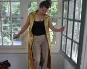 Metallic Gold Brocade Vest Coat/Vintage 1960s/Gold Damask Maxi Vest/Size Small