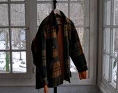 Men's Vintage Plaid Wool Grunge Lumberjack Field Shirt/Vintage 1970s/Johnson Woolen Mills/Orange Green Plaid With Free Orange Wool Sweater