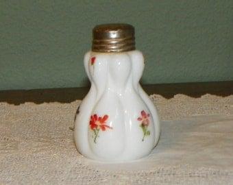 EAPG Antique Opaline Salt SHAKER Tears Double Teardrop elongated drop Hand Painted Flowers Glass