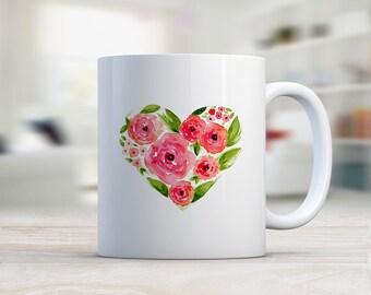 Red Rose Floral  Mug, Ceramic Mug, Coffee Mug, Coffee Lover, Original  Watercolor Art,  Red Rose heart Floral Design, Gift