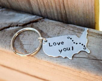 United states long distance couple's keychain