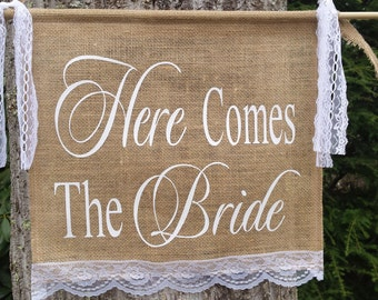 Here Comes The Bride, Burlap Banner, Burlap and Lace, Burlap Wedding, Rustic Wedding, Last Chance To Run Banner