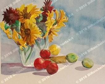 Painting-Watercolor-Floral Art-Sunflowers Art-Original Art