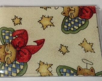 Mother's Day Gift,Cats with Angels  Handmade Debit Card Holder, Mini wallet