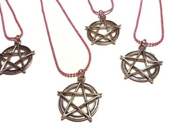 Simple Pentacle on Pink Necklace