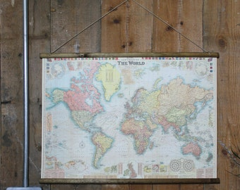 Bacons New Chart of the World Wallhanging