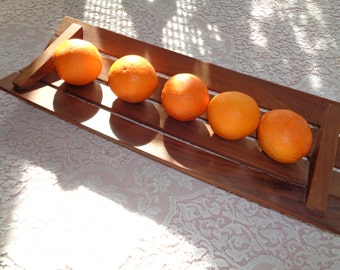 Vintage Mid Century Modern Danish Style Teak Slotted Wood Table Vessel Tray in Mint Condition with great lines and design