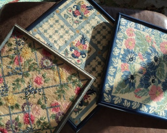 3 Vintage Needlepoint Samplers,  A Collection of Blue Floral Still Life Needlepoint Pictures in  Blue Frames, Professionally Framed,