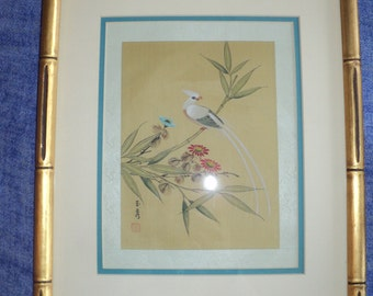 Asian Woodblock Print of an Elegant WhIte Bird on a bamboo branch with blooming buds in Very Good Condition W/  Professional Frame and Mat