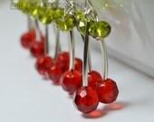 Cherry Red Earrings, Cherry Earrings, Red Earrings, Summer Earrings, Funky Earrings, Beaded Earrings, Red Bead Earrings, Cherry Jewelry