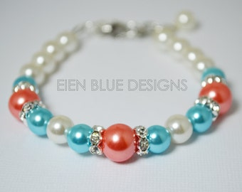 Pearl Bracelet, Coral, Turquoise and White Bracelet and Earrings Set, Coral Jewelry, Bridesmaid Pearl Jewelry, Turquoise and Coral Wedding