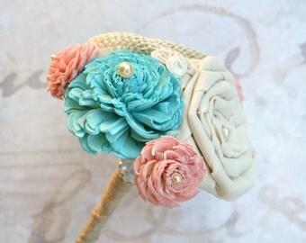 Blue and Peach Mini Bouquet // Toss Bouquet, Wedding Flowers, Burlap, Sola Wood, Peach Wedding, Wedding Party Bouquet, Wedding Decoration