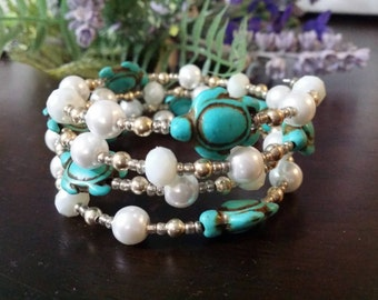 Beaded Bracelet White and Greens Beaded Memory wire Bracelet one size fits all