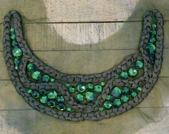 Green Stone Braided Applique