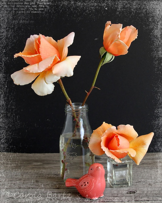 Orange Roses Photograph, Still Life with Roses and Bird, Altered Photo, 8 x 10 Photo Print, Fine Art Photography, Photo Art, Shabby Chic