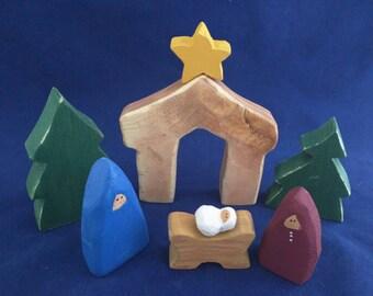nativity set small rustic decor primitive handmade wooden 8 pieces - Wooden Nativity Set