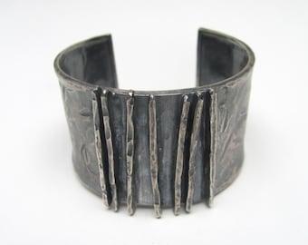 Hammered Lines Silver Cuff Bracelet