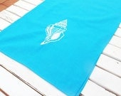Sea Foam Sea Shell Table Runner , Nautical Embroidered Table Runner - Sea Shells - Boating Gift , Teal, Turquiose