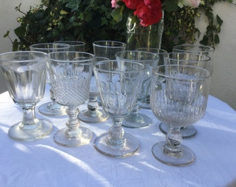12 French vintage large Glasses, Handmade, 19th antique blowned glasses, all DIFFERENT