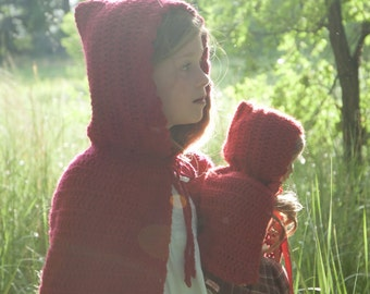 "Crochet Patterns- Little Red Riding Hood- Matching Girl AND doll pattern-18"" dolls"
