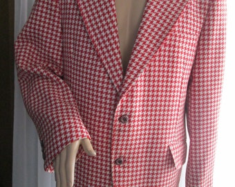 1970's Man Red and White GINGHAM Polyester JACKET by Alexander Scott