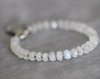 Moonstone Bracelet, 7mm, Chunky, Gemstone Bracelet, Beaded Bracelet, Sterling Silver, Bali Charm, Layering Bracelet, Rainbow Moonstone
