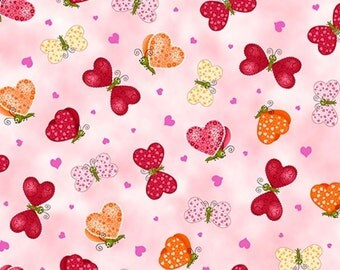 Quilting Treasures - Studio 8 - Love Bugs - Butterfly Valentine's Pink