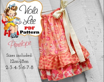 Pillowcase Dress Pattern.pdf Summer Dress Pattern. Girl's Dress Pattern. Girl's Sewing Pattern. Toddler pdf Pattern. Girls Dresses Penelope