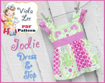 Jodie...Girl's Dress Pattern, Toddler Dress Pattern, Girl's Sewing Pattern, Girl's pdf Sewing Pattern, Summer Top Pattern, Dress Pattern