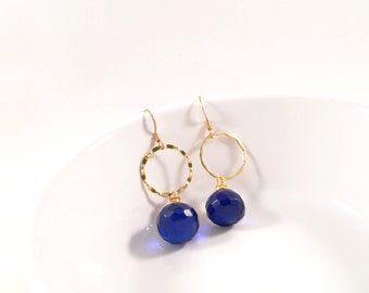Cobalt Blue Infinity Pools, Deep Blue, Wire-Wrapped, Wavy Dangle Earrings