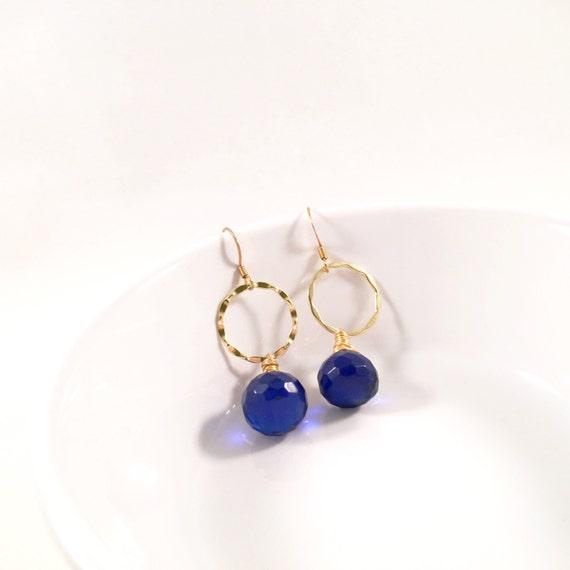 Cobalt Blue Infinity Pools, Deep Blue, Wire-Wrapped, Wavy Dangle Earrings