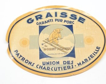 1930 French Advertising Ski Label Pig Skiing, 'Le Goret Skieur', Antique Butcher Shop Sign