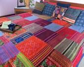 King Size Bohemian Bedding Patchwork Duvet Cover In Hmong Batik, Embroidery and Applique Cotton Quilt