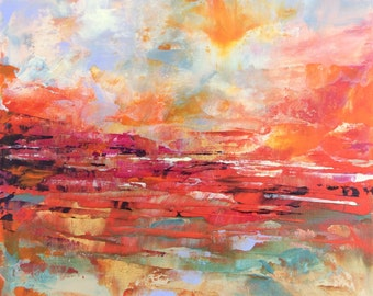 Abstract Landscape - acrylic painting on canvas - size 20cm x 20cm