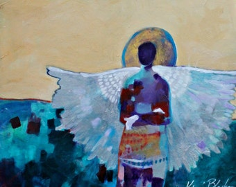 "Angel Painting, Colorful Artwork. Original Wall Art by Kerri Blackman ""I Keep My Visions to Myself"" 20x24"""
