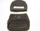 Crochet gender neutral newborn hat and diaper cover set photography prop baby shower gift baby boy baby girl hat and diaper cover Inspire Me