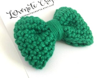 Crochet Hair Bow: Bright Green - Crochet Hair Clip - Crochet Bowtie - Infant - Photography Props - Toddler - St Patrick's Day