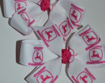 Set of Two John Deere Pink and White Hair Bows