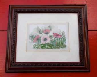 80s Polly French Print Framed Red Poppies USA Artist